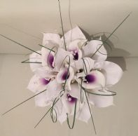 ARTIFICIAL WHITE PURPLE CALLA LILY WEDDING BRIDE BOUQUET FLOWERS PEARL SPARKLY